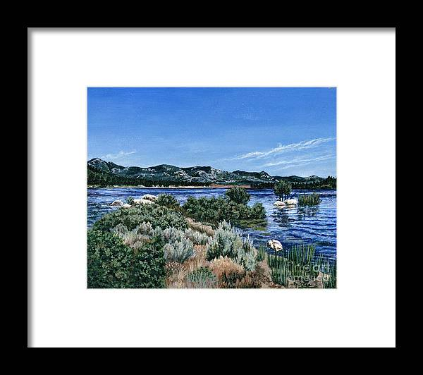 Landscap Painting Framed Print featuring the painting View Of Lake Hemet by Jiji Lee