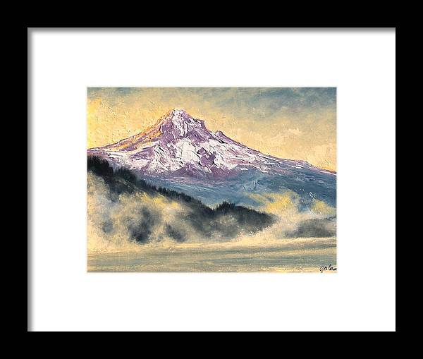 Lanscape Framed Print featuring the painting View Of Mt Hood by Jim Gola