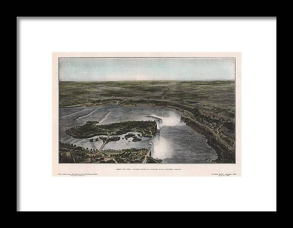 Watercolor Framed Print featuring the painting View Of Niagra Falls 1907 by John Frank