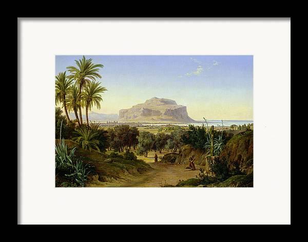 View Framed Print featuring the painting View Of Palermo With Mount Pellegrino by August Wilhelm Julius Ahlborn