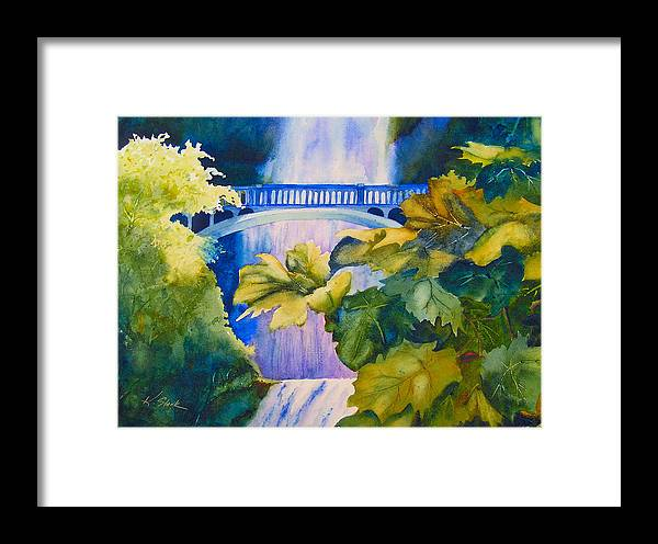 Waterfall Framed Print featuring the painting View Of The Bridge by Karen Stark