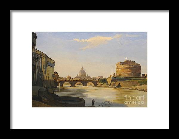 Ippolito Caffi Italian 1809 - 1866 View Of The Castel Sant'angelo Framed Print featuring the painting View Of The Castel Sant'angelo by MotionAge Designs
