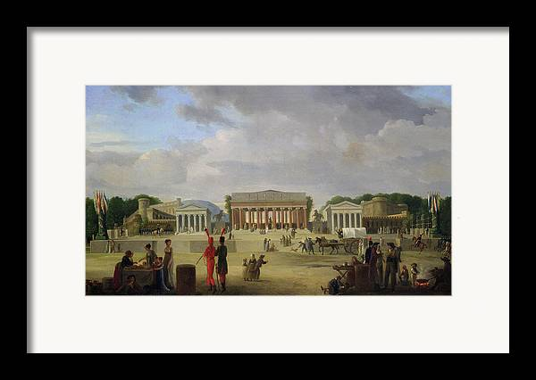 View Framed Print featuring the painting View Of The Grand Theatre Constructed In The Place De La Concorde For The Fete De La Paix by Jean Baptiste Louis Cazin