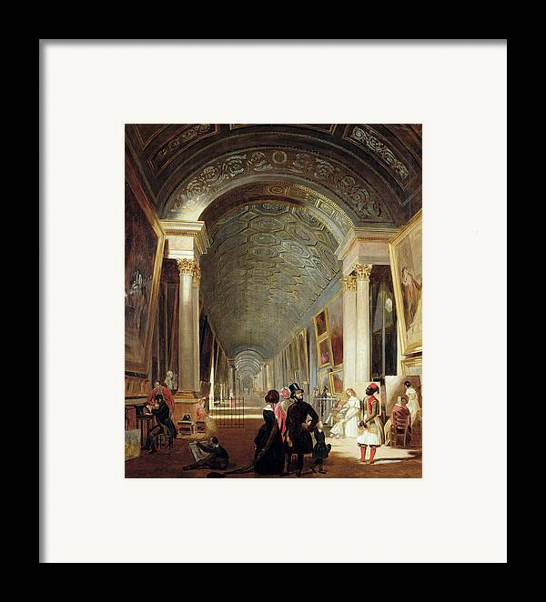 View Framed Print featuring the painting View Of The Grande Galerie Of The Louvre by Patrick Allan Fraser