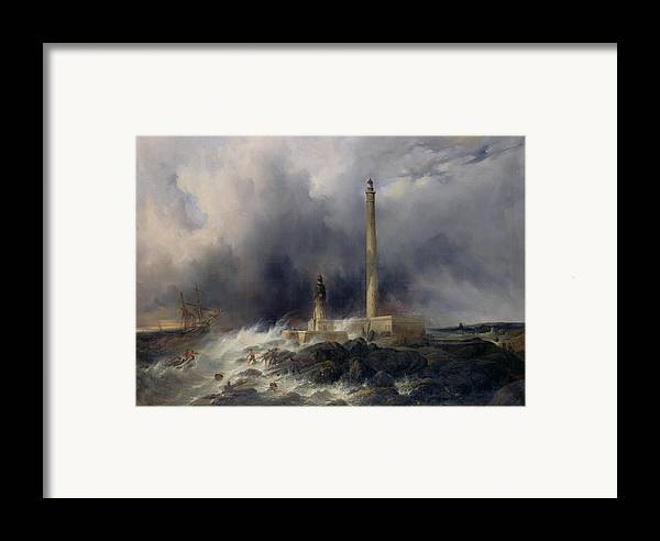 View Framed Print featuring the painting View Of The Lighthouse At Gatteville by Jean Louis Petit
