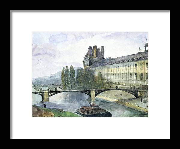 View Framed Print featuring the painting View Of The Pavillon De Flore Of The Louvre by Francois-Marius Granet