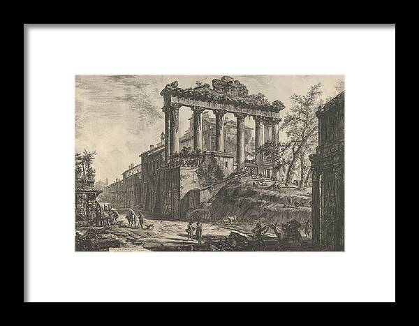 18th Century Art Framed Print featuring the relief View Of The So-called Temple Of Concord With The Temple Of Saturn, On The Right The Arch Of Septimiu by Giovanni Battista Piranesi