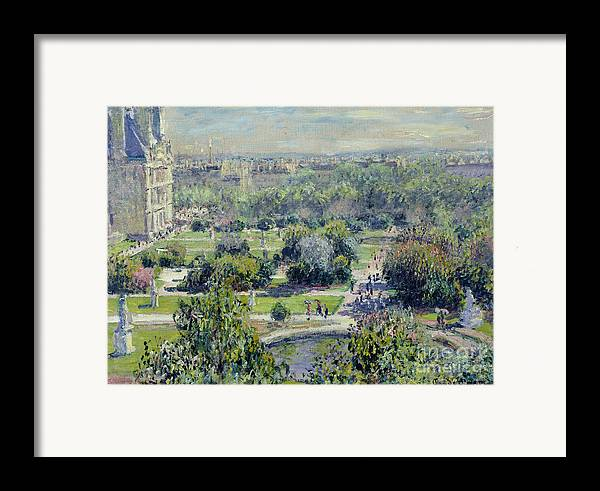 View Framed Print featuring the painting View Of The Tuileries Gardens by Claude Monet