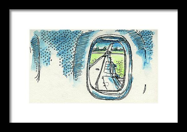 View Out Of Airplane Window Drawing Framed Print By Frank Ramspott