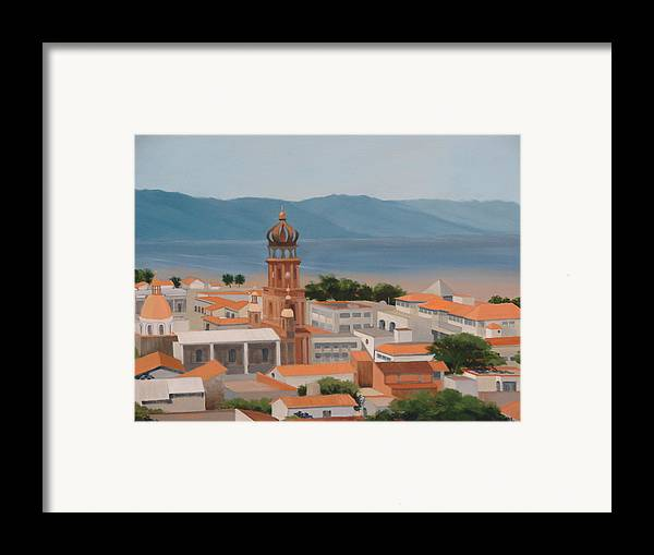 Mexico Framed Print featuring the painting View Over Puerto Vallarta by Robert Rohrich