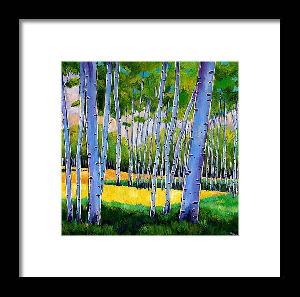 Landscapes Framed Print featuring the painting View Through Aspen by Johnathan Harris