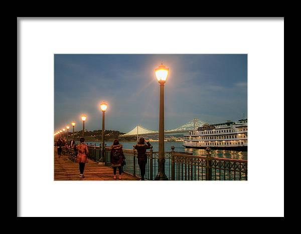 Bonnie Follett Framed Print featuring the photograph Viewing The Bay Bridge Lights by Bonnie Follett