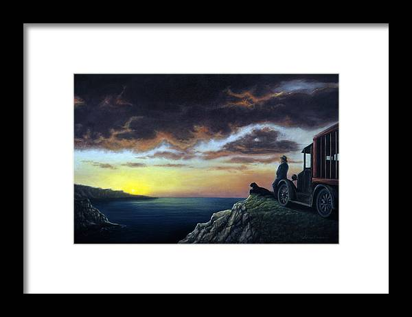 Ocean Framed Print featuring the painting Viewing The Bay by Lance Anderson