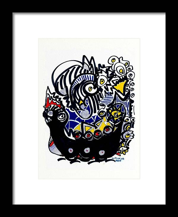 Viking Ship Framed Print featuring the drawing Viking Ship by Wilson Abad