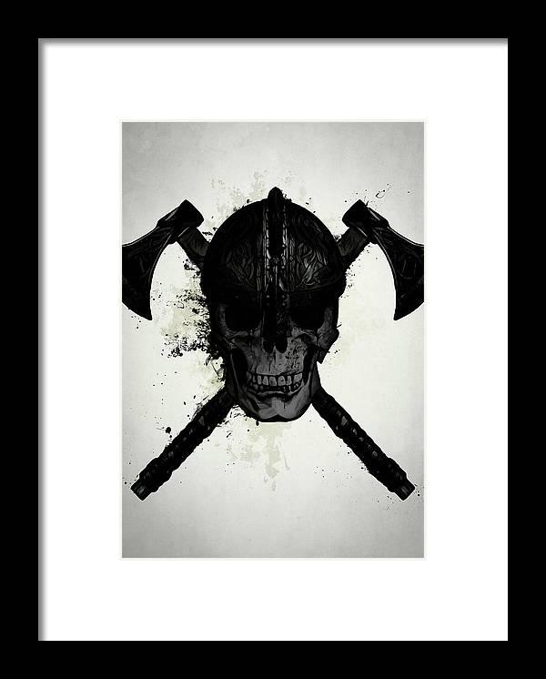Viking Framed Print featuring the digital art Viking Skull by Nicklas Gustafsson