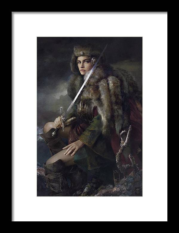 Warrioress Framed Print featuring the painting Viktoria by Eve Ventrue