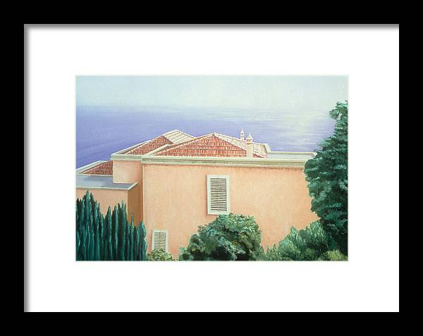 Seascape Framed Print featuring the painting Villa With Cypress Trees by Gloria Cigolini-DePietro