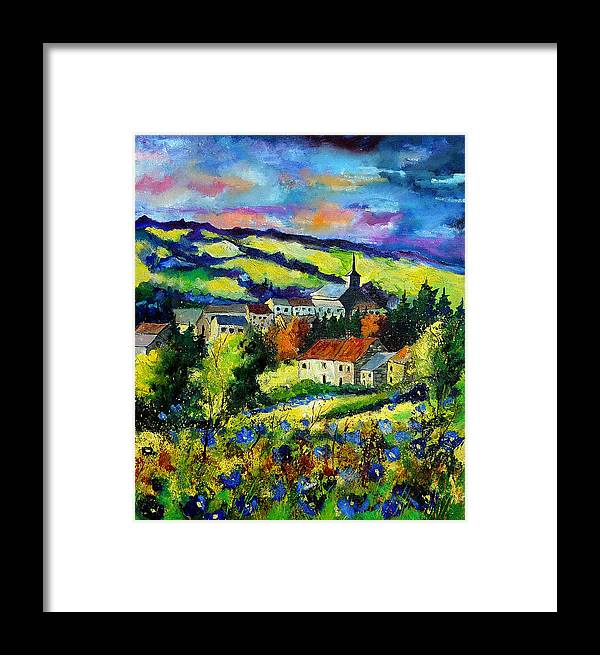 Landscape Framed Print featuring the painting Village And Blue Poppies by Pol Ledent