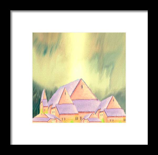 Landscape Framed Print featuring the painting Village by Belinda Threeths