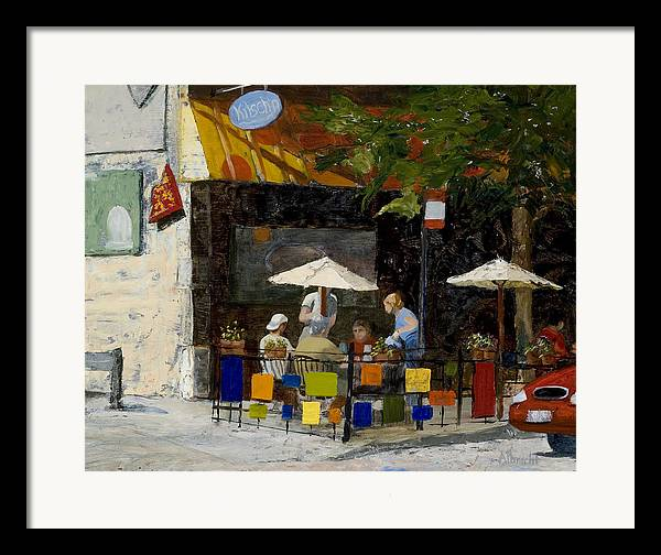 Chicago Framed Print featuring the painting Village Brunch by Nancy Albrecht
