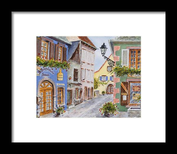 Village Framed Print featuring the painting Village In Alsace by Mary Ellen Mueller Legault