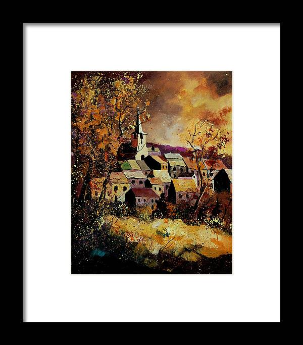 River Framed Print featuring the painting Village In Fall by Pol Ledent