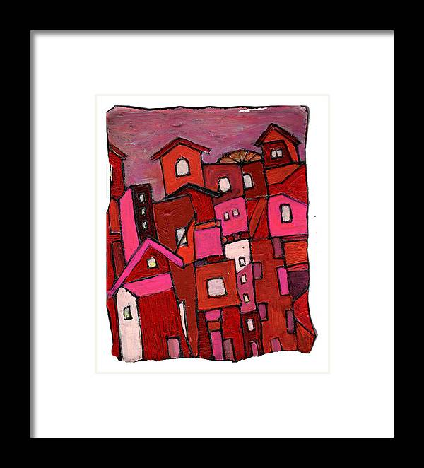 Village Framed Print featuring the painting Village In Pink by Wayne Potrafka