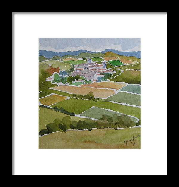 Tuscany Framed Print featuring the painting Village In Tuscany by Janet Butler