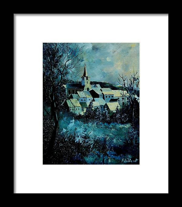River Framed Print featuring the painting Village In Winter by Pol Ledent