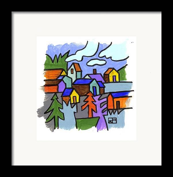 Landscape Design Framed Print featuring the painting Village Scene by Helen Pisarek