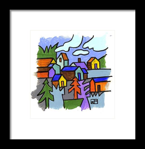 Landscape Design Framed Print featuring the painting Village Scene by Helen Pisarek