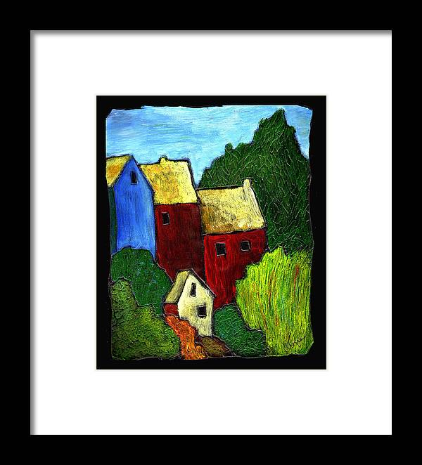 Village Framed Print featuring the painting Village Scene by Wayne Potrafka