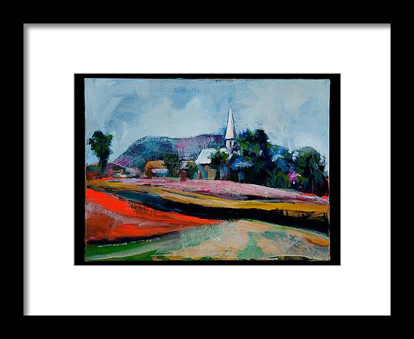Landscape Framed Print featuring the painting Village St-germain. by Roger Couture