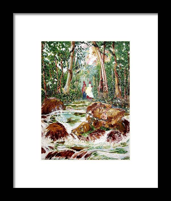 Village Framed Print featuring the painting Village Stream by Narayan Iyer