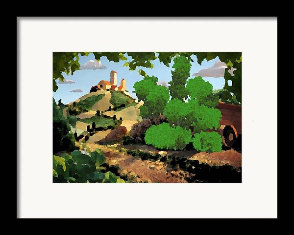 Village Old Road.trees.bushes.hill.littlt Tower.houses.farm.sky.clouds Framed Print featuring the digital art Village. Tower On The Hill by Dr Loifer Vladimir