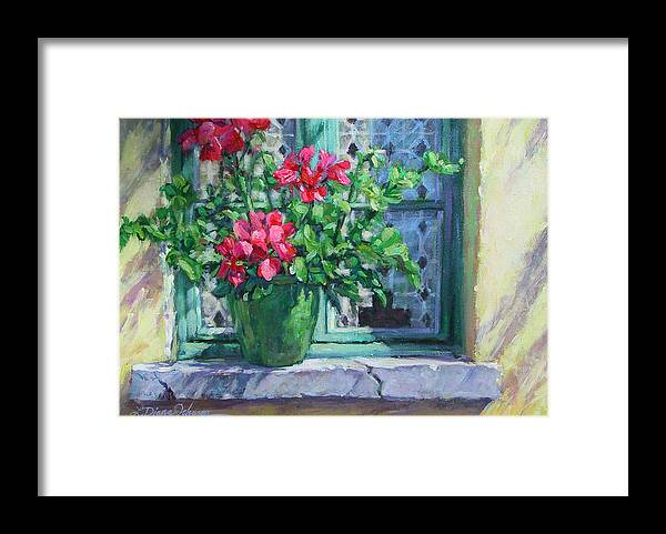 Red Geranium Framed Print featuring the painting Village Welcome Giverny France by L Diane Johnson