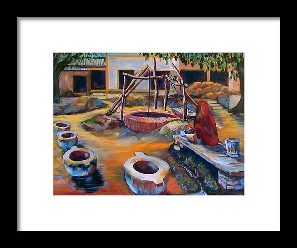 Village Framed Print featuring the painting Village Well by Art Nomad Sandra Hansen
