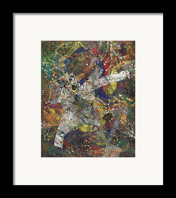 Abstract Framed Print featuring the painting Ville Et Ceremonie by Dominique Boutaud
