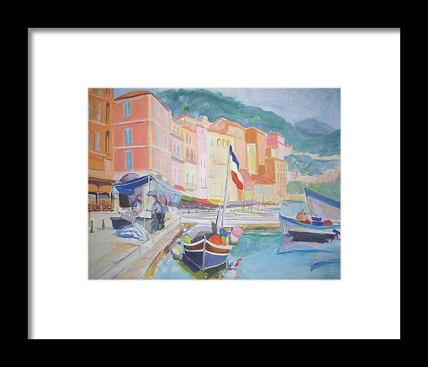 Oil Framed Print featuring the painting Ville Franche Boat by Pixie Glore