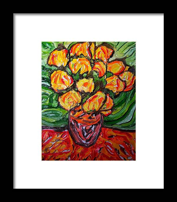 Van Gogh Framed Print featuring the painting Vinces Flowers by Ira Stark