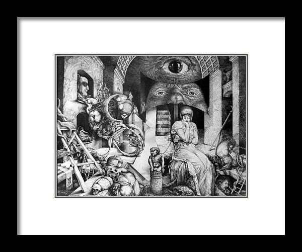 Surrealism Framed Print featuring the drawing Vindobona Altarpiece IIi - Snakes And Ladders by Otto Rapp