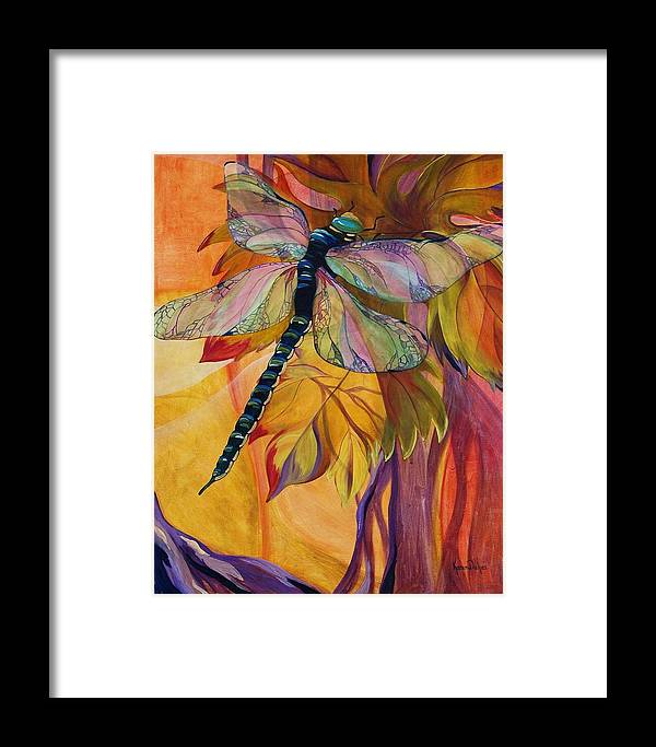 Dragonfly Framed Print featuring the painting Vineyard Fantasy by Karen Dukes