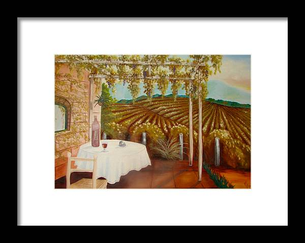 Vineyard Framed Print featuring the painting Vineyard II by Karen R Scoville