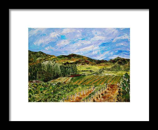 Landscape Framed Print featuring the painting Vineyard Solitude by Deborah Gall