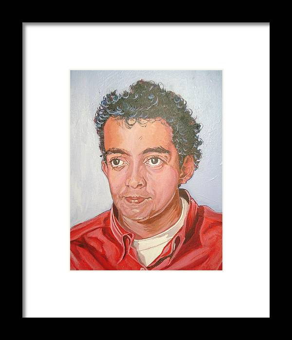 Portrait Framed Print featuring the painting Vinnie by Narayan Iyer