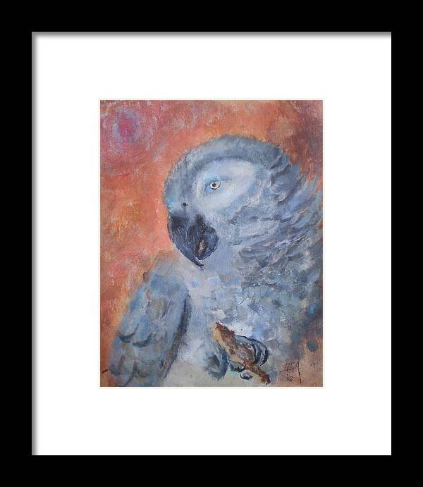 African Grey Parrot Framed Print featuring the painting Vinny by Bryan Alexander