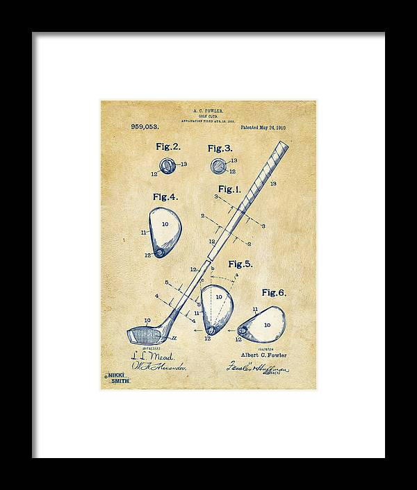 Golf Framed Print featuring the digital art Vintage 1910 Golf Club Patent Artwork by Nikki Marie Smith