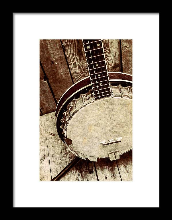 String Framed Print featuring the photograph Vintage Banjo Barn Dance by Jorgo Photography - Wall Art Gallery