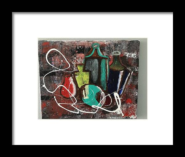 Abstract Bottles Framed Print featuring the painting Vintage Bottles by Michael Walters