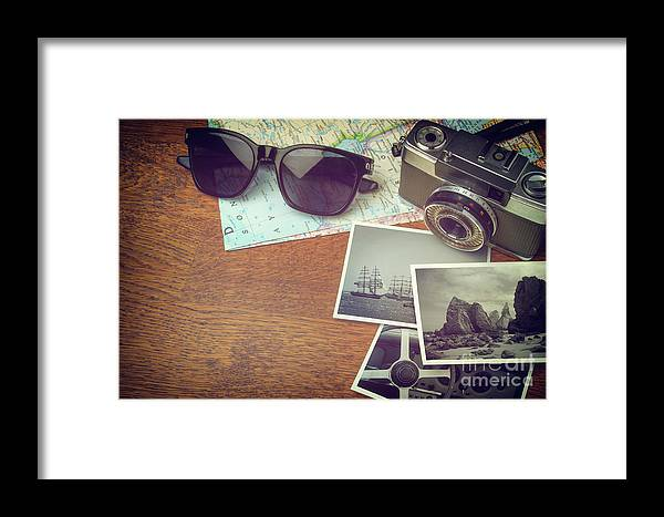 Photo Framed Print featuring the photograph Vintage Camera And Map by Carlos Caetano